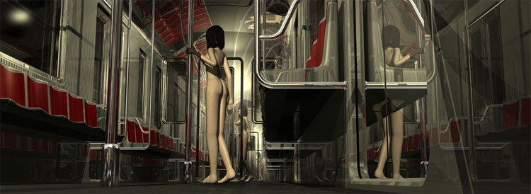 Nude girl standing in an empty NY MTA cabin
