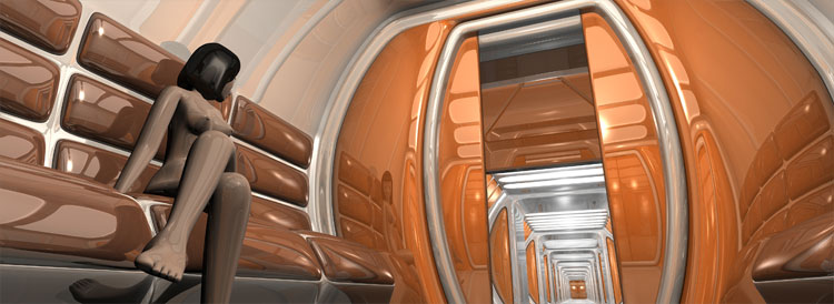 Orange plastic glossy interior of a  space shuttle