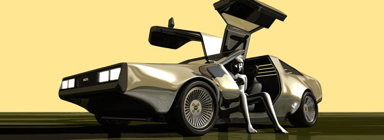 White nude girl sitting in a DeLorean