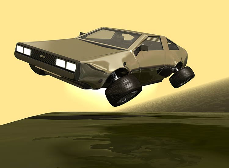 A DeLorean rising up