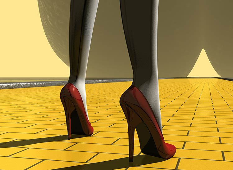 Girl wearing red pumps on a Yellow Brick Road