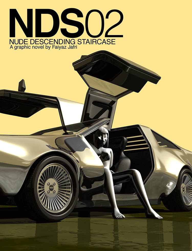 NDS02 cover, depicting a white nude girl sitting in a DeLorean