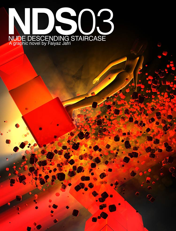 Cover of NDS 03 depicting a girl on an exploding UFO build out of large pixels