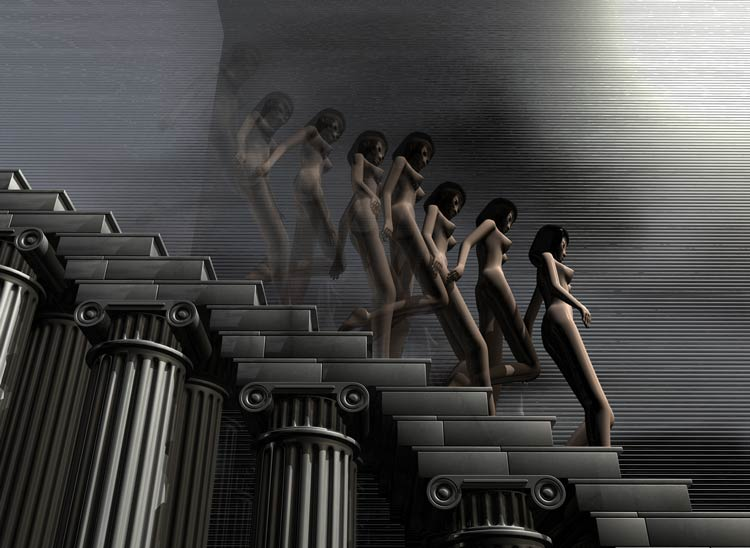 NDS04 7 nude girls walking down marble stairs