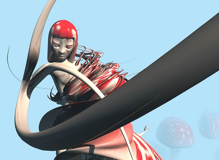 Image from NDS05 Nude Descending Staircase, a red and white tentacle toadstool girl