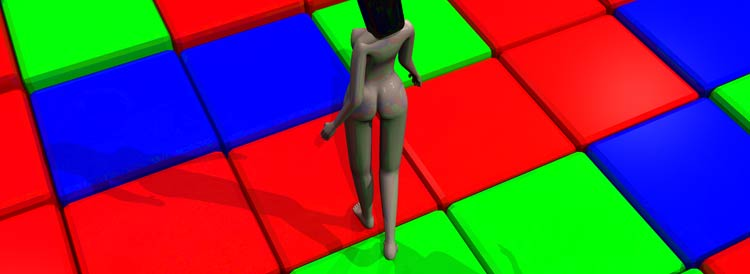 Nude girl on top of RGB cubes