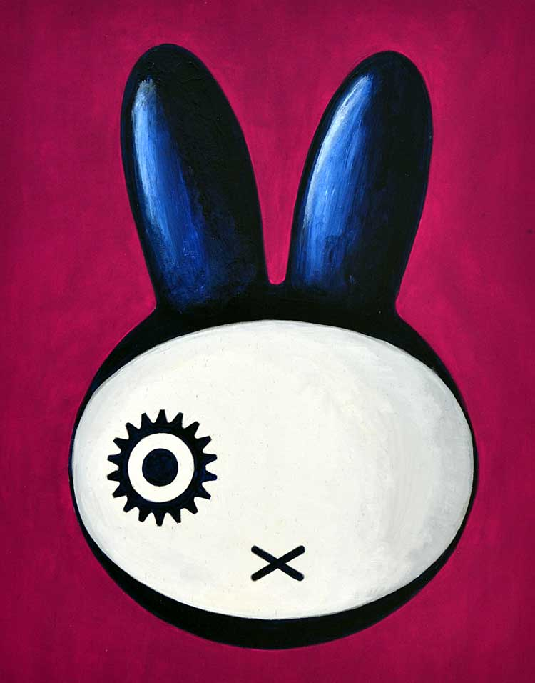 Painting of a crossover of Miffy and Alex from a Clockwork Orange