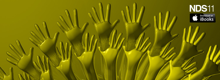 Nude Descending Staircase, cluster of yellow hands