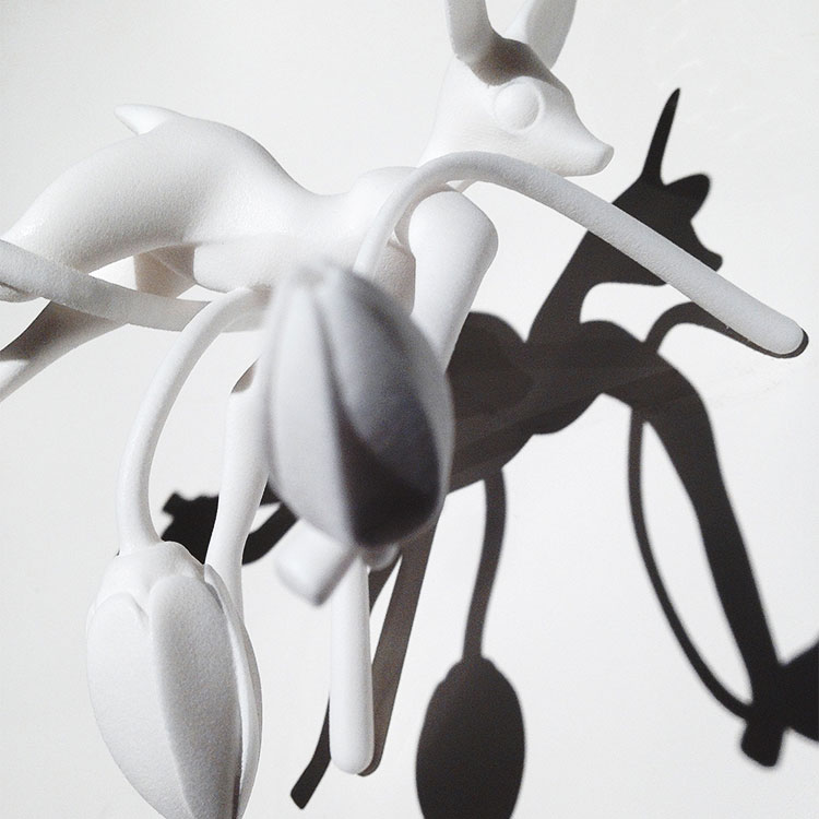 Fawn held up by 3 tulips 3D printed sculpture by Faiyaz Jafri