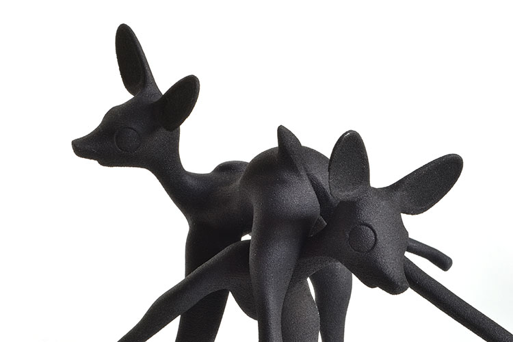 Fawn Play, 3D printed object, Laser sintered white nylon plastic, painted black. by Faiyaz Jafri