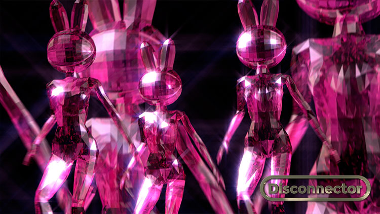 Magenta crystal dancing bunny girls, Disconnector an animated Disco opera by Faiyaz Jafri