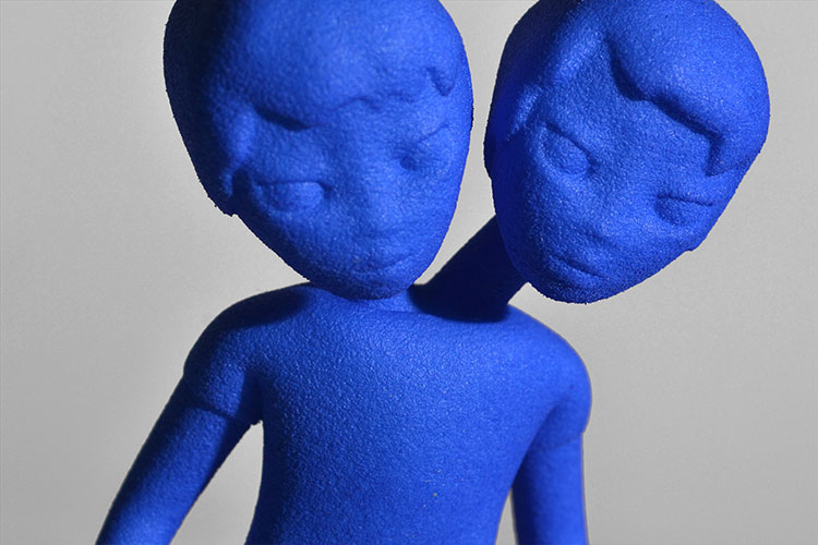 2 headed boys 3D printed sculpture, character from Cyclone forever by Faiyaz Jafri