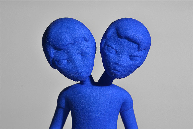 2 headed siamese boys 3D printed sculpture, character from Cyclone forever by Faiyaz Jafri