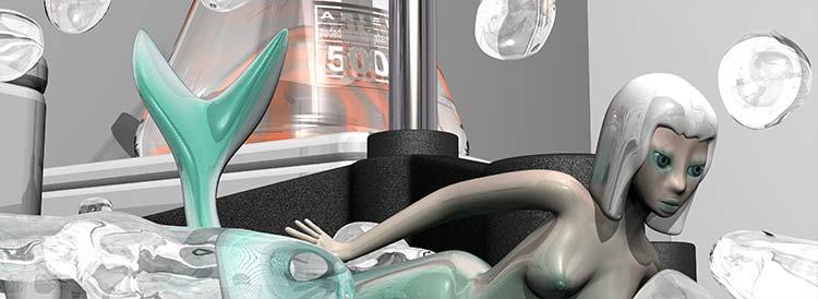 NDS10 Nude Descending Staircase, mermaid in laboratory beakers