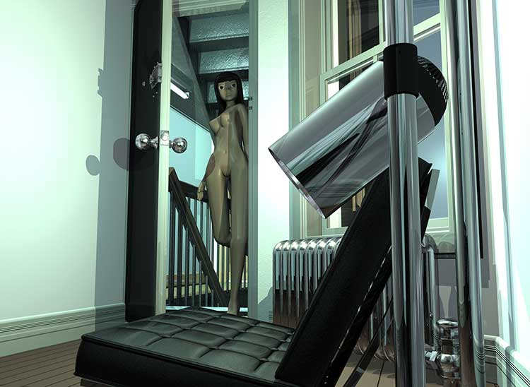 NDS 13 Nude Descending Staircase, nude girl entering NYC downtown apartment