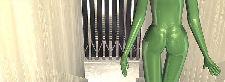 Nude Descending Staircase, close up of green nude girl behind