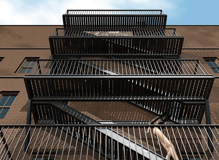 Nude Descending Staircase, New York City fire escape