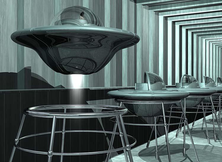 Nude Descending Staircase, UFO hangar