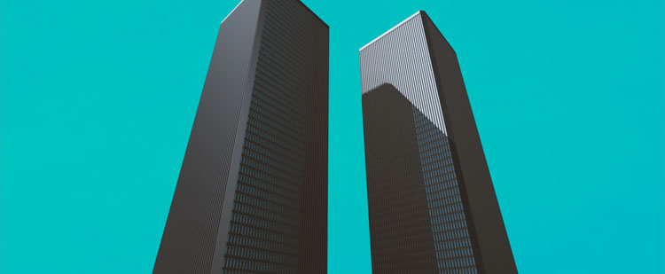 This Ain't Disneyland, low angle of the Twin Towers, World Trade Centre