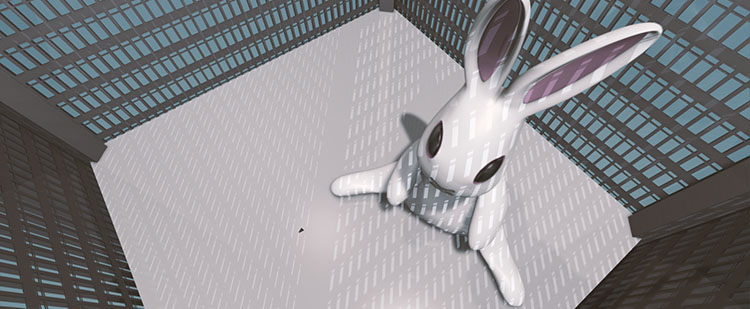 This Ain't Disneyland, white bunny rabbit inside the World Trade Centre