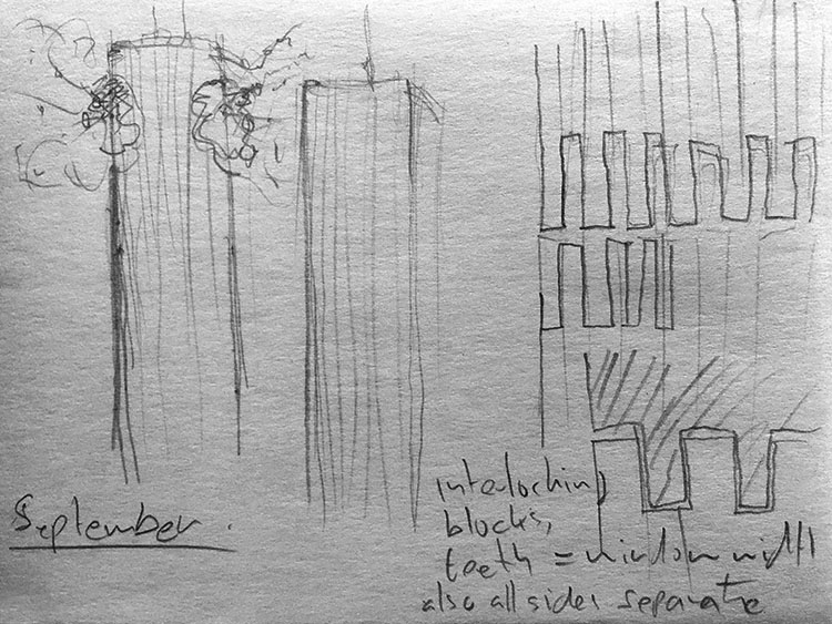 This Ain't Disneyland pencil sketches, collapse of the first tower of the World Trade Centre in New York September 11 2001