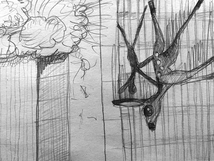 This Ain't Disneyland pencil sketches, collapse of the first tower of the World Trade Centre in New York September 11 2001, with falling deer