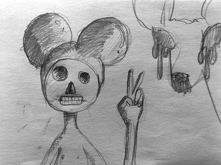This Ain't Disneyland pencil sketches, two boys with Mickey Mouse hats rise up out of the rubble of the collapsed Twin Towers holding a bunny rabbit and deer